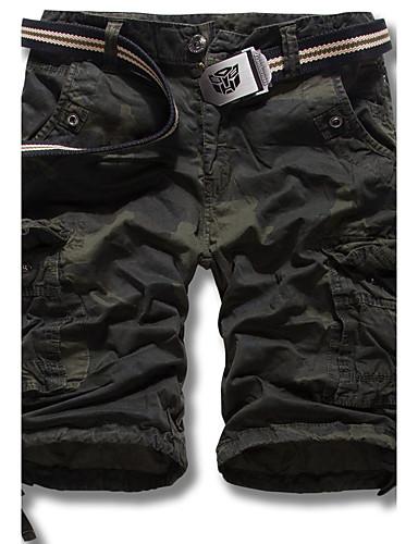 Homens Vintage Reto Shorts Calças - camuflagem