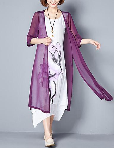 رخيصةأون فساتين طويلة-فستان نسائي قياس كبير قطعتين طباعة - قطن طويل للأرض فضفاض ورد مناسب للخارج