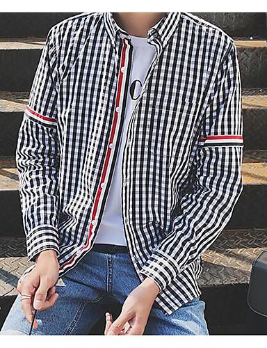 남성 체크 스탠드 긴 소매 셔츠,심플 캐쥬얼/데일리 면