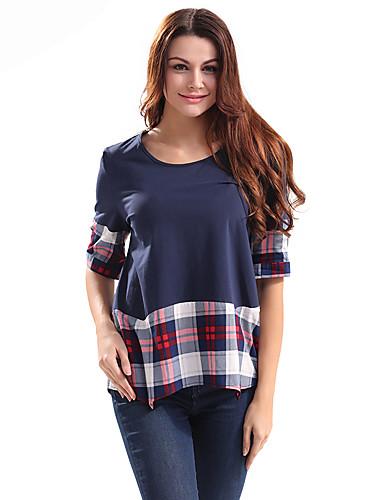여성 체크무늬 라운드 넥 ½ 길이 소매 티셔츠,빈티지 캐쥬얼/데일리 면 폴리에스테르 봄 여름 얇음
