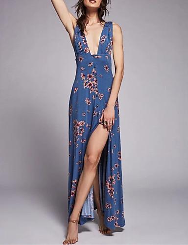 여성 루즈핏 시프트 드레스 데이트 캐쥬얼/데일리 심플 스트리트 쉬크 플로럴 프린트,스트랩 맥시 민소매 실크 면 여름 가을 중간 밑위 약간의 신축성 중간