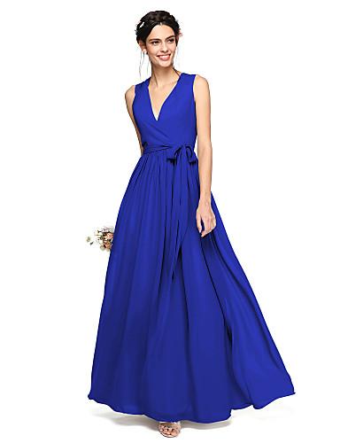 Corte en A Escote en Pico Hasta el Suelo Raso Vestido de Dama de Honor con Lazo(s) / Cinta / Lazo por LAN TING BRIDE®