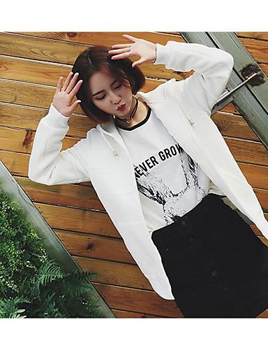 Damen Kapuzenshirt Lässig/Alltäglich Einfach Solide Reine Farbe Mikro-elastisch Baumwolle Lange Ärmel Frühling Sommer