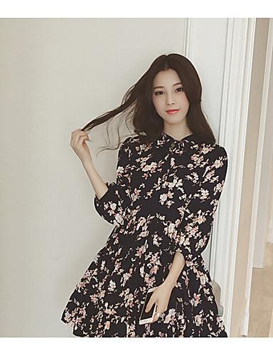 여성 루즈핏 드레스 캐쥬얼/데일리 심플 플로럴,라운드 넥 무릎길이 긴 소매 그외 봄 높은 밑위 약간의 신축성 얇음