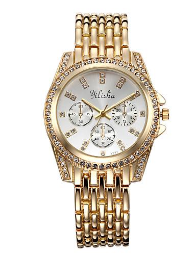 Mulheres Relógio de Pulso Quartzo Legal Aço Inoxidável Banda Analógico Casual Fashion Elegante Dourada - Dourado