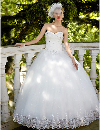Ball Gown Sweetheart Floor Length Lace Tulle Wedding Dress with Sequin Appliques by Embroidered Bridal