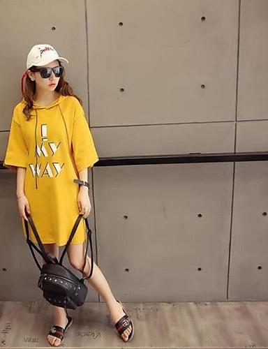 여성 후드 캐쥬얼/데일리 솔리드 줄무늬 면 약간의 신축성 반 소매 스프링 여름
