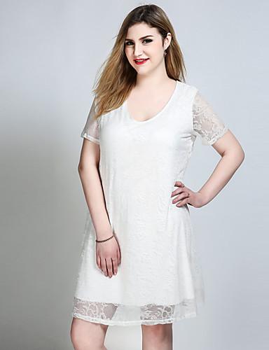 Mulheres Tamanhos Grandes Fofo Casual Evasê Rendas balanço Vestido - Renda, Sólido Decote U Altura dos Joelhos