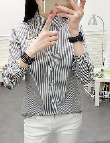 여성용 줄무늬 셔츠 카라 셔츠, 캐쥬얼 면
