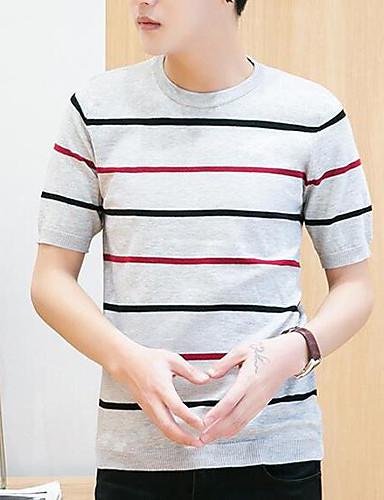 남성 줄무늬 라운드 넥 짧은 소매 티셔츠,심플 캐쥬얼/데일리 면 얇음