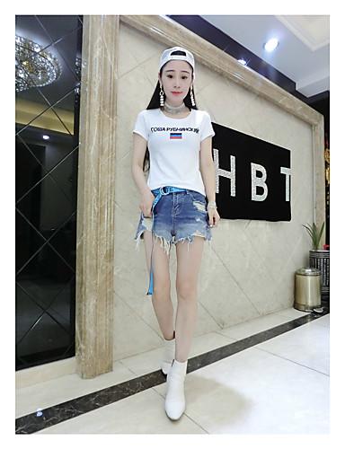 여성 문자 라운드 넥 짧은 소매 티셔츠,심플 캐쥬얼/데일리 면