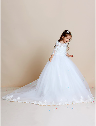 d81bb3e3e46 Ball Gown Sweep   Brush Train Flower Girl Dress - Lace   Tulle Half Sleeve Off  Shoulder with Appliques   Lace by LAN TING BRIDE®