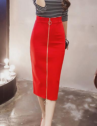 olcso Női szoknyák-Női Ceruza Alkalmi / Klub Szoknyák - Egyszínű Fekete Piros XXXL XXXXL XXXXXL / Vékony
