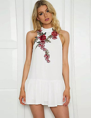 Women's Party Club Sexy Sophisticated Trumpet/Mermaid Dress,Embroidered Turtleneck Mini Sleeveless Polyester Spring Summer Mid Rise
