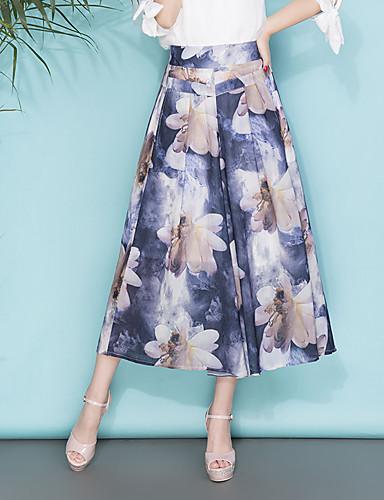 Mulheres Tamanhos Grandes Perna larga / Chinos Calças - Floral Estampado