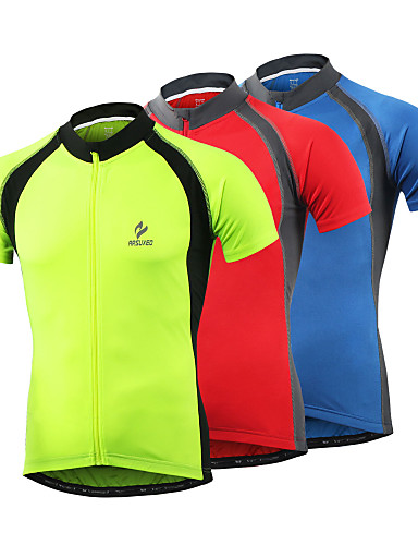 6c5dfde3e07257 Arsuxeo Men s Short Sleeve Cycling Jersey - Light Yellow Red Blue Solid  Color Bike Jersey Top Quick Dry Sports Polyester Spandex Mountain Bike MTB  Road Bike ...