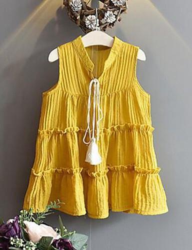 Mädchen Kleid Einheitliche Farbe Baumwolle Sommer Ärmellos