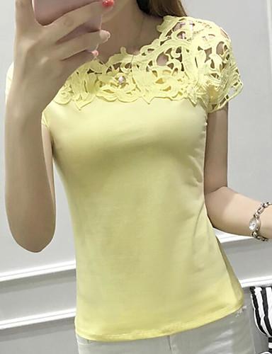 여성용 솔리드 라운드 넥 짧은 소매 티셔츠, 섹시 일상 면