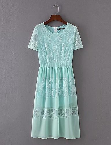 여성 루즈핏 시프트 드레스 캐쥬얼/데일리 데이트 단순한 스트리트 쉬크 솔리드,라운드 넥 미디 짧은 소매 실크 면 여름 가을 중간 밑위 약간의 신축성 중간