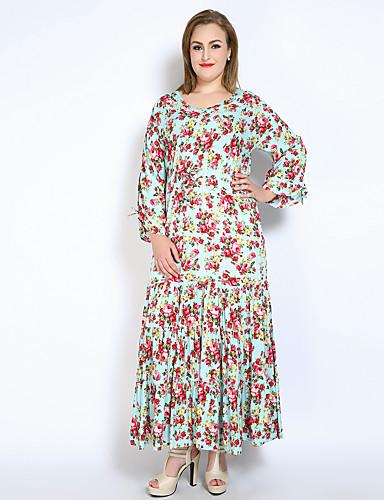 billige Kjoler-Dame Store størrelser Ferie Vintage / Sofistikert Kjegle Erme Bomull Løstsittende / Swing Kjole - Blomstret, Drapering / Rynket Maksi