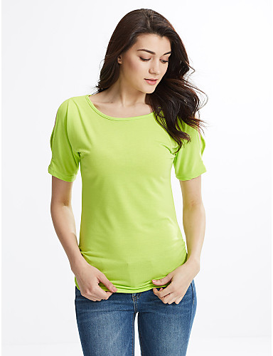 Damen Solide T-shirt Ausgehöhlt Baumwolle Kunstseide
