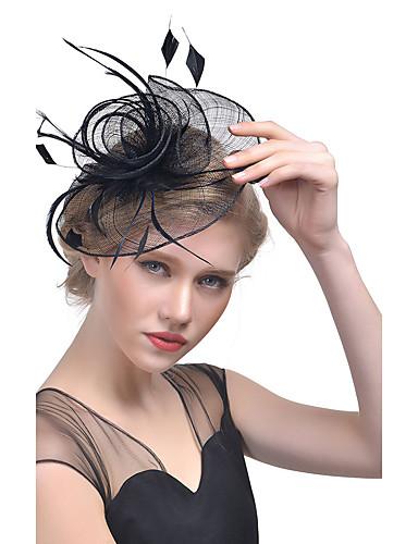 povoljno Ukrasi za kosu-Žene Kentucky Derby Šešir Culori solide Mesh Perje Tekstil