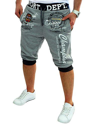 お買い得  メンズパンツ&ショーツ-男性用 活発的 / ベーシック スポーツ ルーズ / 活発的 / スウェットパンツ パンツ - レタード プリント コットン ダックグレー ライトブルー ライトグレー L XL XXL / 夏
