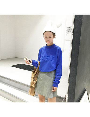 여성 맨투맨 스웻티셔츠 단순한 캐쥬얼/데일리 문자 퓨어 컬러 라운드 넥 면 약간의 신축성 긴 소매 스프링 가을