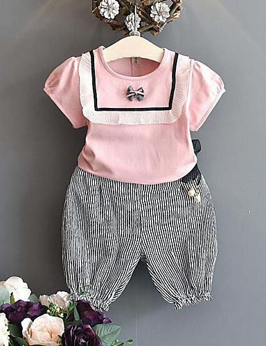 Mädchen Sets Gestreift Baumwolle Polyester Sommer Kurzarm Kleidungs Set