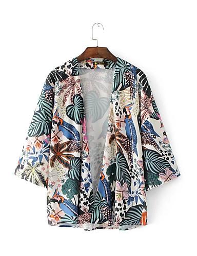 여성 프린트 셔츠 카라 긴 소매 셔츠,단순한 섹시 스트리트 쉬크 데이트 캐쥬얼/데일리 면 여름 얇음 중간