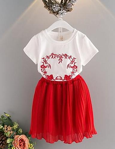 Mädchen Sets Patchwork Bestickt Baumwolle Polyester Sommer Kurzarm Kleidungs Set