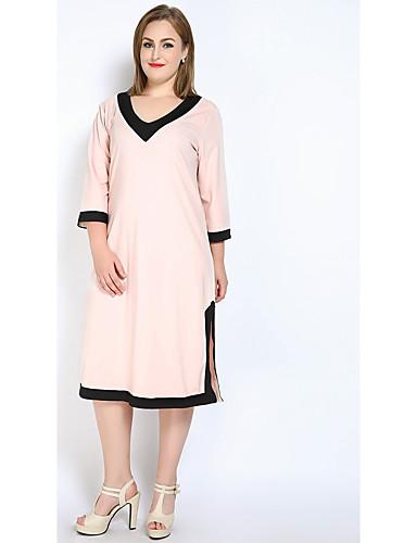 Mulheres Tamanhos Grandes Solto Reto Camiseta Vestido - Fenda, Estampa Colorida Decote V