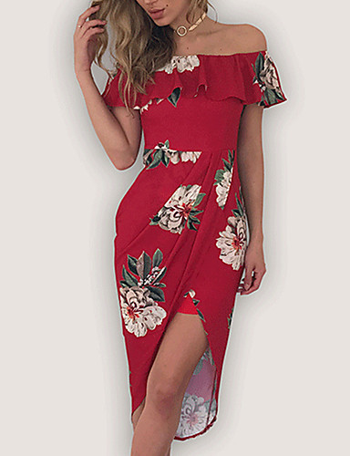 Women's Off Shoulder Holiday Going out Sexy Asymmetrical Sheath Dress - Floral Red, Print Off Shoulder Summer White Black Red M L XL