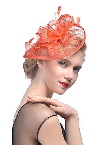 billige Hatte & Imponeringer-Tyll / Fjær Kentucky Derby Hat / fascinators / Hodeplagg med Blomster 1pc Bryllup / Spesiell Leilighet Hodeplagg
