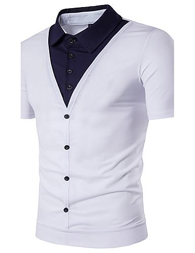 Homens Polo Moda de Rua Estampa Colorida Colarinho de Camisa / Manga Curta