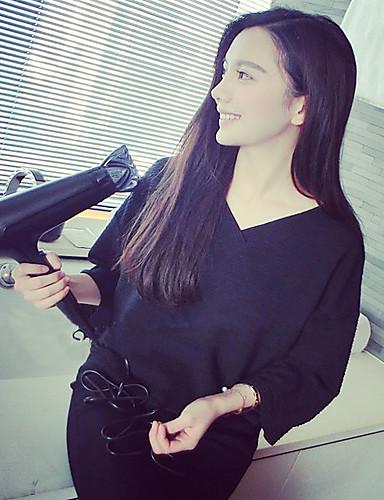 여성 프린트 V 넥 ¾ 소매 셔츠,귀여운 비치 데이트 캐쥬얼/데일리 폴리에스테르 여름 얇음