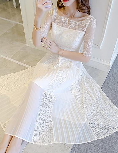 여성용 데이트 단순한 레이스 / 쉬폰 드레스 - 솔리드 높은 밑위 미디 U 넥 / 여름