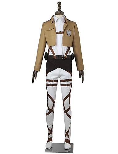 povoljno Anime kostimi-Inspirirana Napad na Titanu Mikasa Ackermann Anime Cosplay nošnje Japanski Cosplay Suits Jednobojni Dugih rukava Top / Hlače / Pregača Za Muškarci / Žene