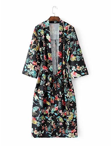 여성 프린트 셔츠 카라 긴 소매 트렌치 코트,스트리트 쉬크 캐쥬얼/데일리 보통 나일론 그외 봄 가을 리벳