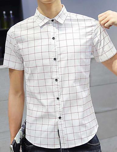 여성 체크 클래식 카라 짧은 소매 셔츠,심플 캐쥬얼/데일리 레이온 여름 불투명