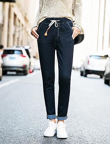 Damen Einfach Mittlere Hüfthöhe Unelastisch Jeans Skinny Hose,Reine Farbe Solide