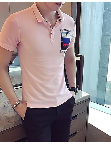 남성 프린트 셔츠 카라 짧은 소매 Polo,심플 캐쥬얼/데일리 면