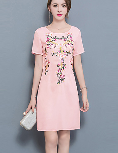 799b5c4ac0cd0 Kadın Günlük/Sade Büyük Beden Sade A Şekilli Salaş Elbise Solid Nakışlı,Kısa  Kollu