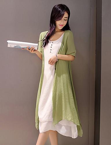 Mulheres Temática Asiática Solto Vestido - Estilo vintage, Sólido Altura dos Joelhos