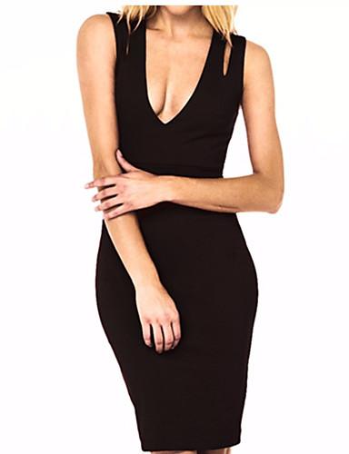 여성용 데이트 빈티지 귀여운 스트리트 쉬크 면 A 라인 바디콘 칼집 드레스 - 솔리드 높은 밑위 무릎 위 딥 V