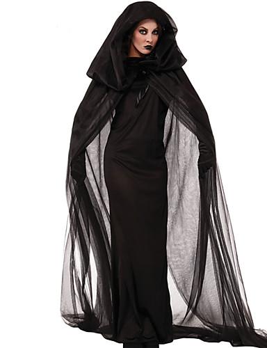 c2e6c7afc241 Heks Cosplay Kostumer Festkostume Voksne Dame Jul Halloween Karneval  Festival   Højtider Terylene Sort Dame Karneval Kostume Vintage