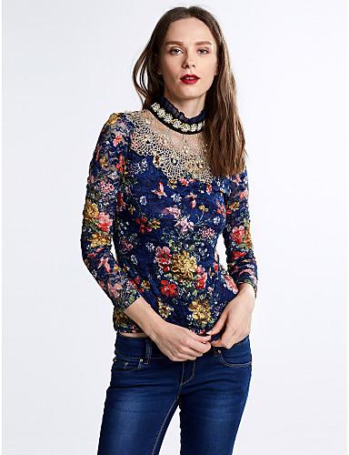 Damen Blumen Bluse, Ständer Spitze Perlenbesetzt Polyester