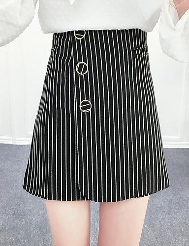 여성 데이트 무릎 위 스커트,A 라인 여름 줄무늬
