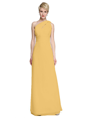 cheap Bridesmaid Dresses-Sheath / Column One Shoulder Floor Length Chiffon Bridesmaid Dress with Sash / Ribbon / Side Draping / Ruched by LAN TING BRIDE®