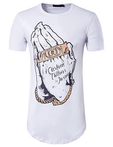 남성 프린트 라운드 넥 짧은 소매 티셔츠,심플 액티브 데이트 캐쥬얼/데일리 면 여름 불투명